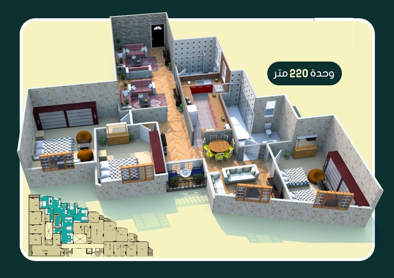 تقسيم شقة 220 متر برج نايل فيو المعادى